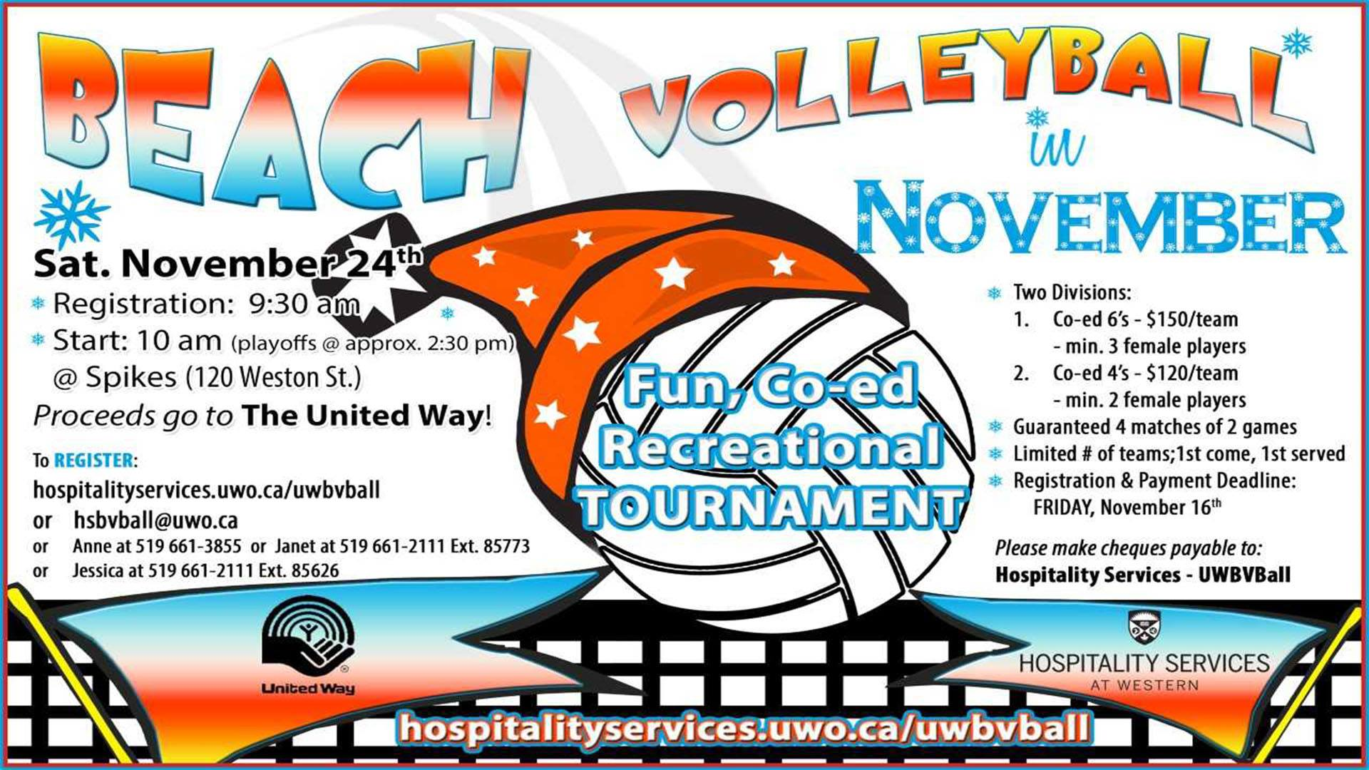 Beach Volleyball in November for United Way