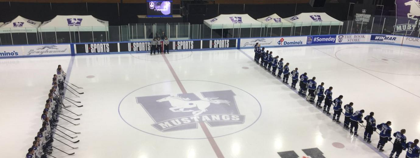 The Mustangs and Carabins lineup for the Anthem